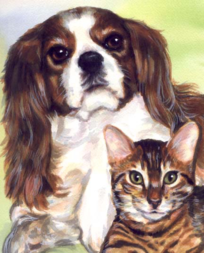 Cavalier King Charles Tabby Cat Dog Watercolor Carol Wells