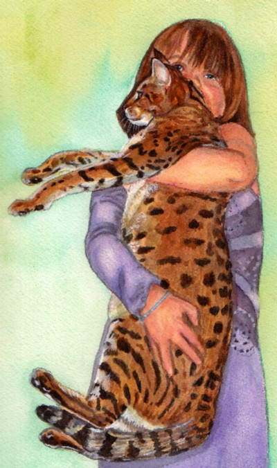 Bengal Cat Girl Watercolor Carol Wells