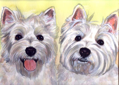 Westie Dogs Watercolor Portrait Carol Wells