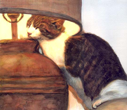 Sleeping Cat Lamp Watercolor Carol Wells