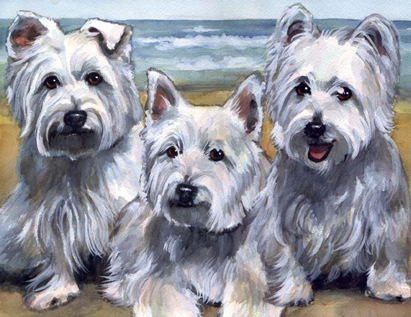 Westie Dogs Beach Watercolor Carol Wells