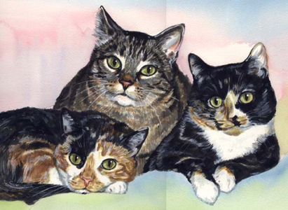 Cats Watercolor Painting Carol Wells