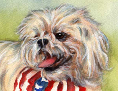 White Dog Flag Bandana Watercolor Carol Wells