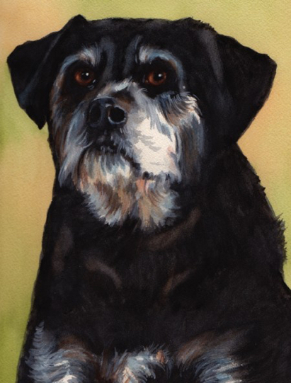 Black Dog Watercolor Carol Wells