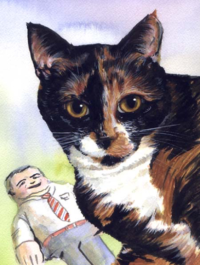 Cat George W. Bush Toy Watercolor Carol Wells