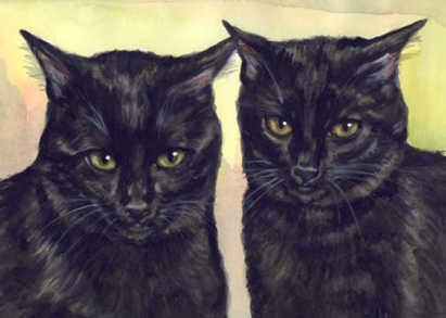 Black Cats Watercolor Painting Carol Wells