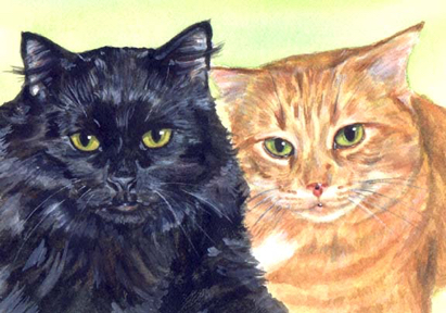 Black Orange Cats Watercolor Carol Wells