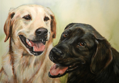Black Yellow Labs Dogs Watercolor Carol Wells