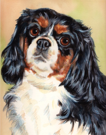 Cavalier King Charles Spaniel Dog Watercolor Carol Wells