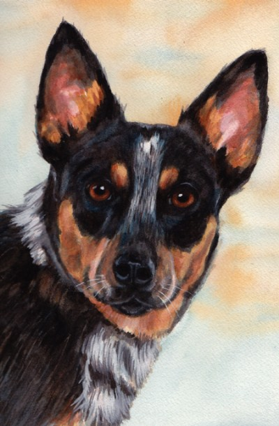 Portrait Dog Watercolor Carol Wells