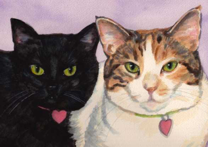 Two Cats Watercolor Carol Wells