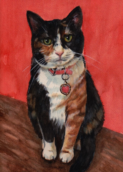 Calico Cat Watercolor Carol Wells