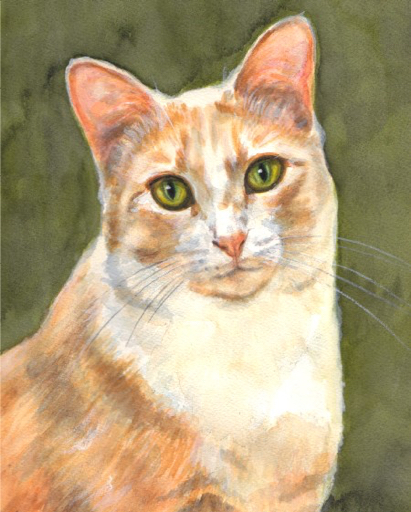 Ginger Cat Watercolor Carol Wells