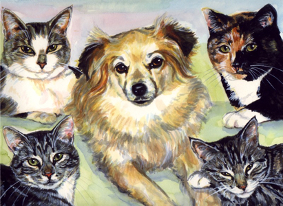 Cats Dog Family Watercolor Carol Wells