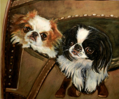 Japanese Chin Dogs Watercolor Carol Wells