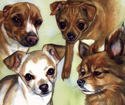Chihuahua Dogs Watercolor Pet Portrait Carol Wells
