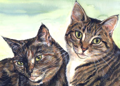 Tabby Cats Watercolor Carol Wells