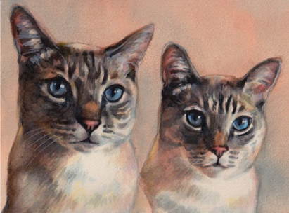 Sealpoint Cats Watercolor Carol Wells