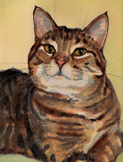 Tabby Cat Watercolor Carol Wells