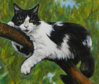 Tux Cat Tree Watercolor Carol Wells