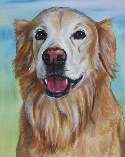 Golden Retriever Dog Watercolor Carol Wells