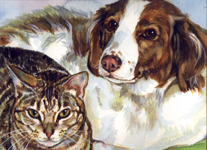 Dog Cat Watercolor Portrait Carol Wells