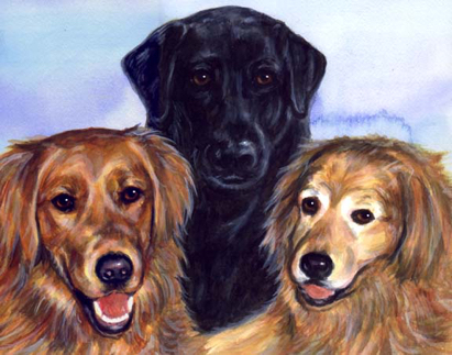 Dog Family Watercolor Portrait Carol Wells