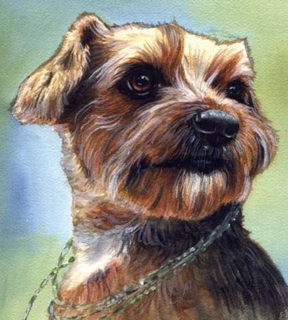 Dog Watercolor Necklace Pet Portrait Carol Wells