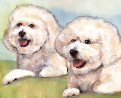 Bichon Dogs Watercolor Carol Wells