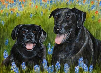 Dogs Bluebonnets Painting Carol Wells