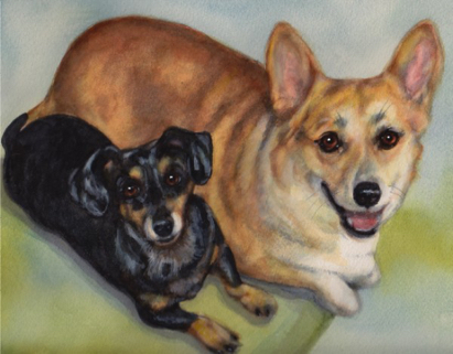Corgi Dachshund Watercolor Carol Wells