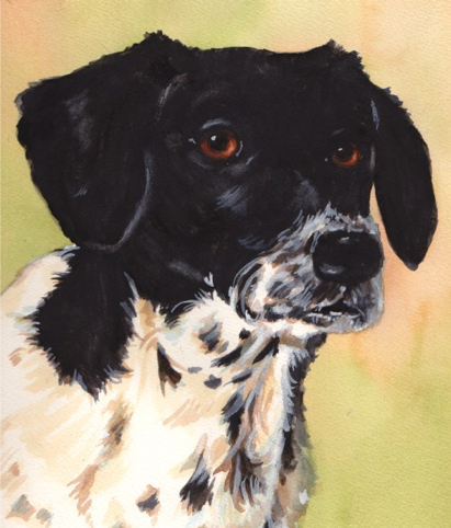 Black White Dog Watercolor Carol Wells