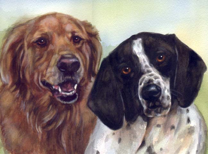 Dogs Watercolor Carol Wells
