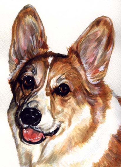 Corgi Dog Watercolor Carol Wells