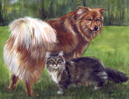 Dog Cat Watercolor Carol Wells