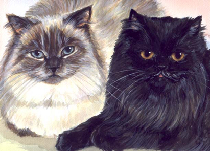 Longhaired Cats Watercolor Carol Wells