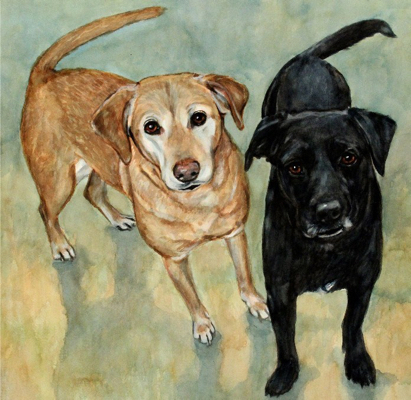 Black Yellow Lab Dogs Watercolor Carol Wells