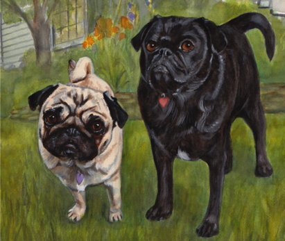 Fawn Black Pug Dogs Watercolor Carol Wells