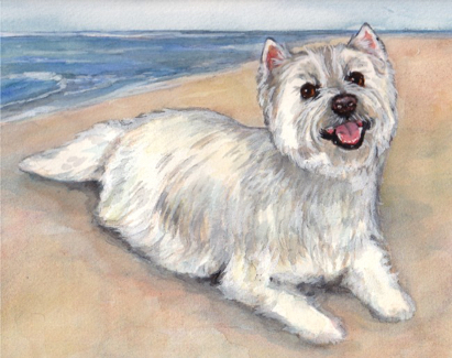 Westie Dog Beach Watercolor Carol Wells