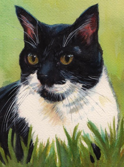 Tux Cat Watercolor Carol Wells