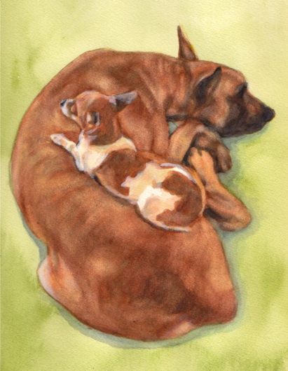 Great Dane Chihuahua Dogs Watercolor Carol Wells