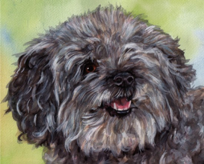 Cute Dog Watercolor Carol Wells