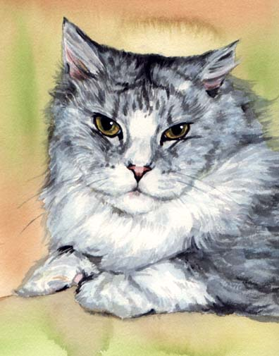 Persian Cat Watercolor Carol Wells