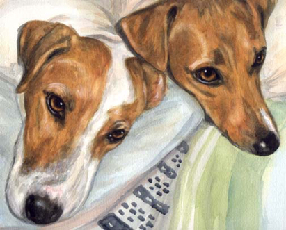 Jack Russell Terrier Dogs Watercolor Pet Portrait Carol Wells