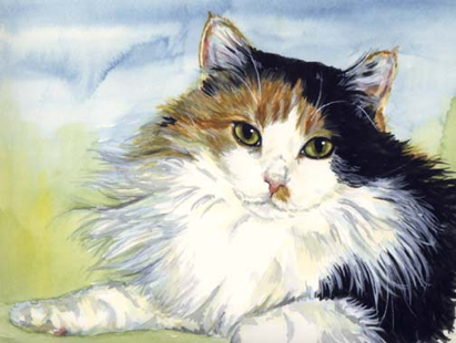 Longhaired Calico Cat Watercolor Carol Wells